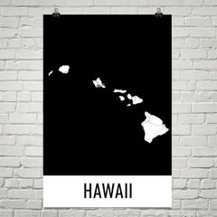 Hawaii USA Street Map Poster Tan and Blue