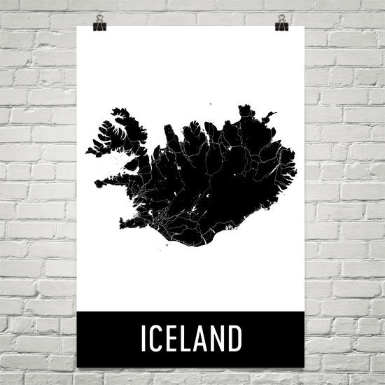 Iceland Street Map Poster Blue