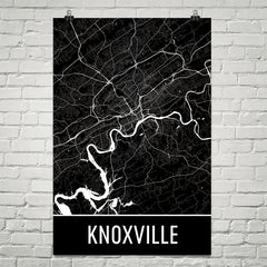 Knoxville TN Street Map Poster Orange