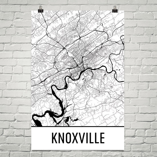 Knoxville TN Street Map Poster White