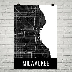 Milwaukee WI Street Map Poster Blue