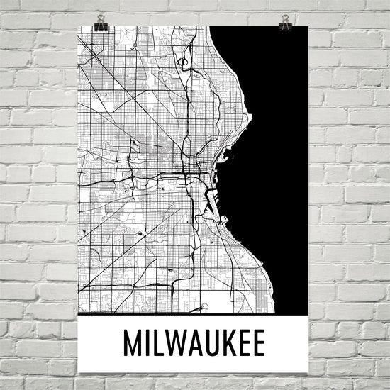 Milwaukee WI Street Map Poster White