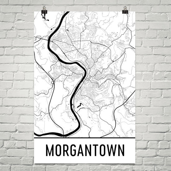 Morgantown WV Street Map Poster White