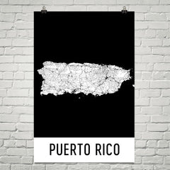 Puerto Rico Street Map Poster Tan and Blue