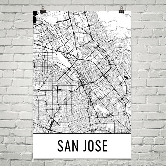 San Jose CA Street Map Poster White