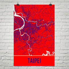 Taipei Taiwan Street Map Poster Red