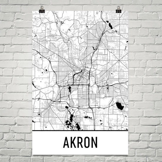 Akron Ohio Street Map Poster White