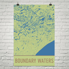 Boundary Waters Street Map Poster Green