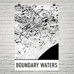 Boundary Waters Street Map Poster White