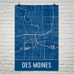 Des Moines IA Street Map Poster Blue