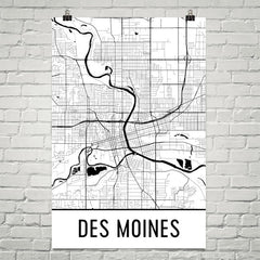 Des Moines IA Street Map Poster White