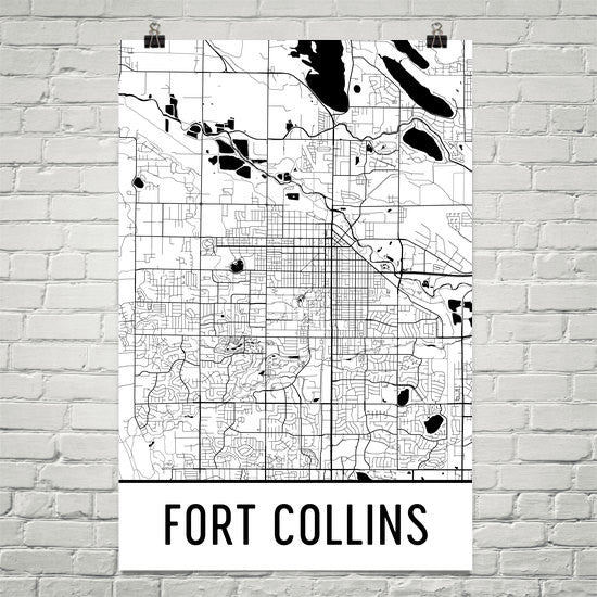Fort Collins CO Street Map Poster White