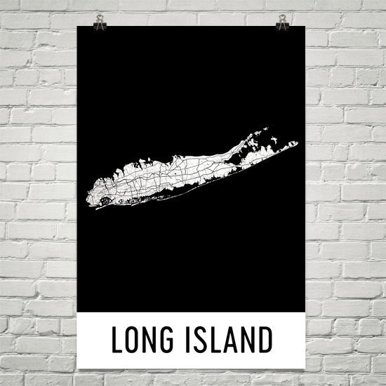 Long Island NY Street Map Poster White