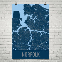 Norfolk VA Street Map Poster Blue