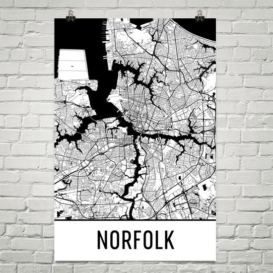 Norfolk VA Street Map Poster White