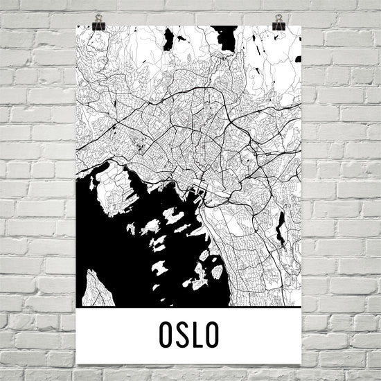 Oslo Norway Street Map Poster White