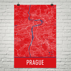 Prague Street Map Poster Red