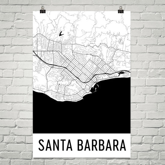 Santa Barbara CA Street Map Poster White