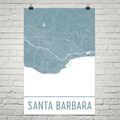 Santa Barbara CA Street Map Poster Black