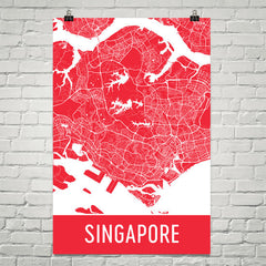 Singapore Street Map Poster Red
