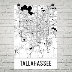 Tallahassee FL Street Map Poster White
