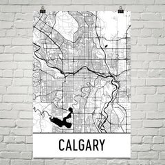 Calgary AB Street Map Poster White