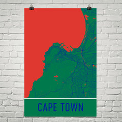 Cape Town SA Street Map Poster Red