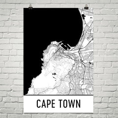 Cape Town SA Street Map Poster White