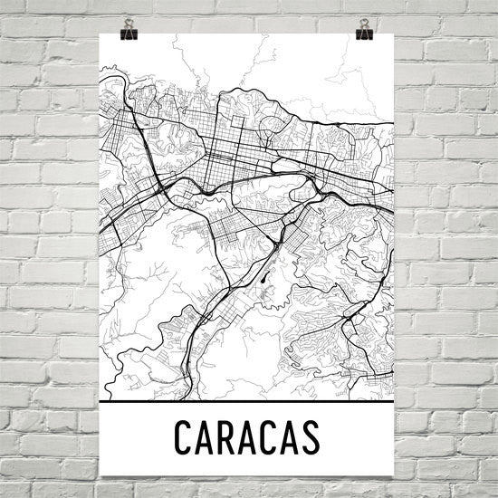 Caracas Street Map Poster White