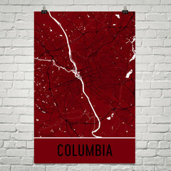 Columbia SC Street Map Poster Red