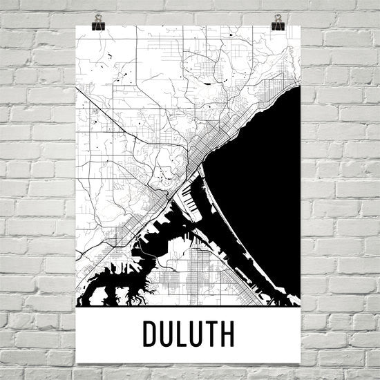 Duluth MN Street Map Poster White