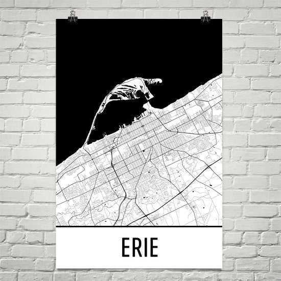 Erie PA Street Map Poster White