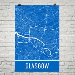 Glasgow Street Map Poster Blue