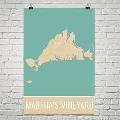 Martha's Vineyard Street Map Poster Tan and Blue