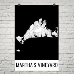 Martha's Vineyard Street Map Poster Black