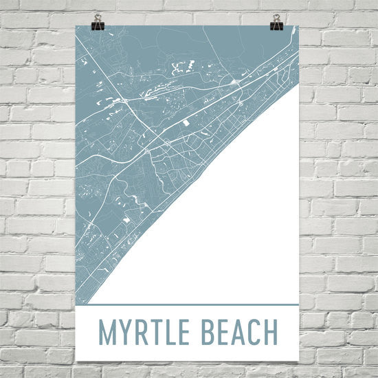 Myrtle SC Beach Street Map Poster White