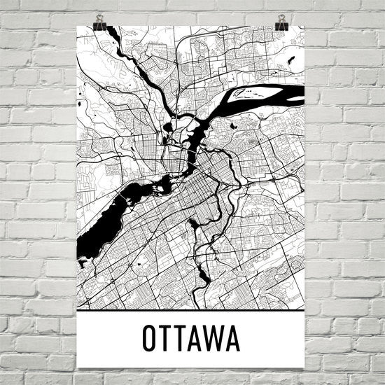 Ottawa ON Street Map Poster White