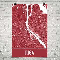 Riga Latvia Street Map Poster Red