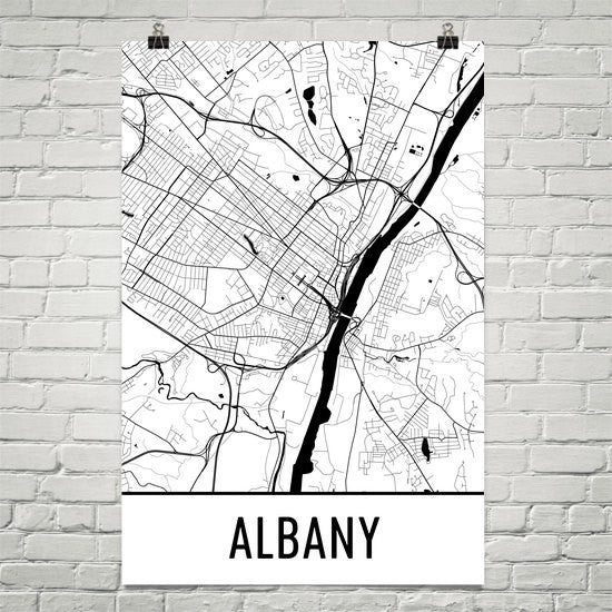 Albany NY Street Map Poster - Wall Print by Modern Map Art