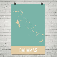 Bahamas Street Map Poster Tan and Blue