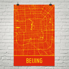 Beijing China Street Map Poster Red