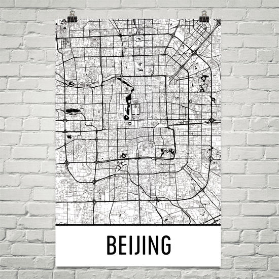 Beijing China Street Map Poster White