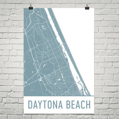 Daytona Beach FL Street Map Poster White