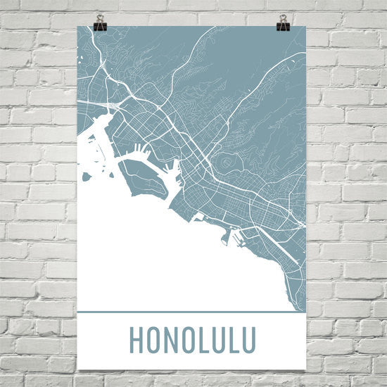 Honolulu HI Street Map Poster White
