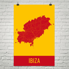 Ibiza Spain Street Map Poster Red