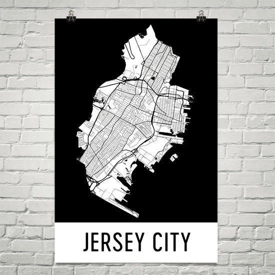 Jersey City  Street Map Poster White