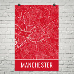 Manchester Street Map Poster Red
