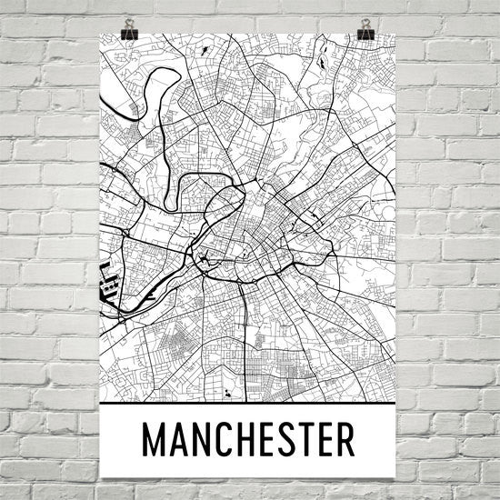 Manchester Street Map Poster White