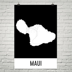 Maui Hawaii Street Map Poster Tan and Blue