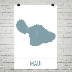Maui Hawaii Street Map Poster White